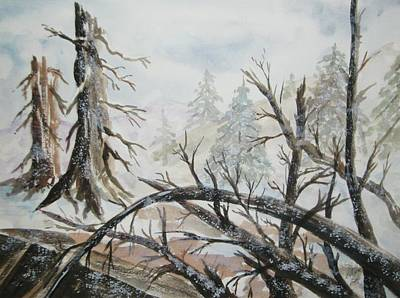 Poster featuring the painting Burned Forest In The Snow by Ellen Levinson