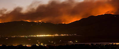 Burning Foothills Above Boulder Fourmile Wildfire Panorama Poster