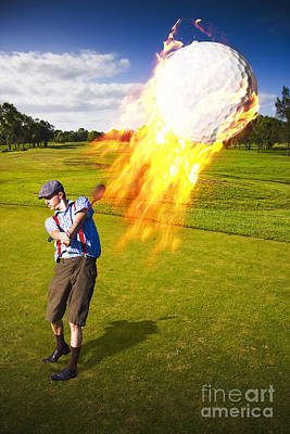 Burning Golf Ball Poster by Jorgo Photography - Wall Art Gallery