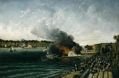 Burning Of The Sidewheeler Henry Clay Poster by Ca 185460