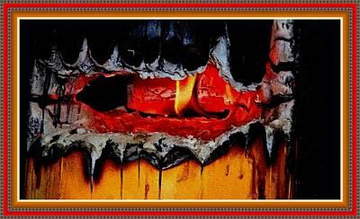 Burning Stump H B With Decorative Ornate Printed Frame. Poster