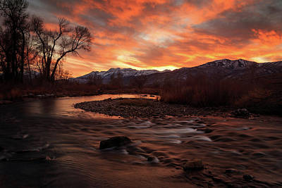 Poster featuring the photograph Burning Sunset Above The Provo River. by Johnny Adolphson