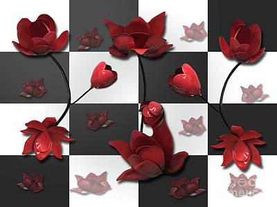 Burnt Crimson Flora Poster