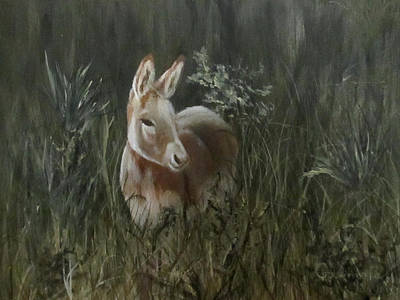 Poster featuring the painting Burro In The Wild by Roseann Gilmore