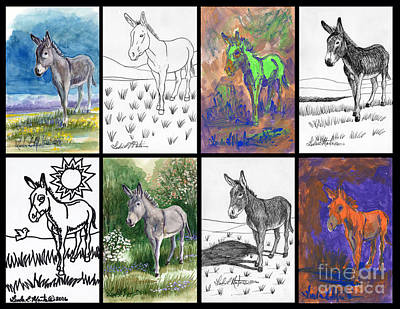 Poster featuring the painting Burro Sampler #1 by Linda L Martin