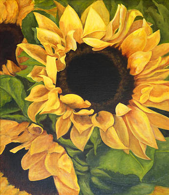Poster featuring the painting Burst Of Sunflowers by Sandra Nardone