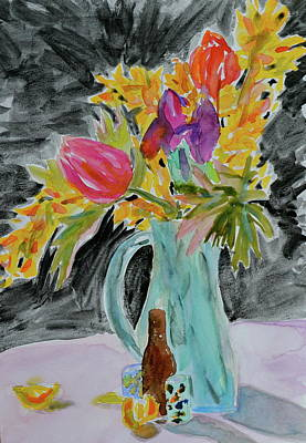 Poster featuring the painting Bursting Bouquet by Beverley Harper Tinsley