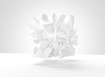 Bursting Object 3d Render Poster