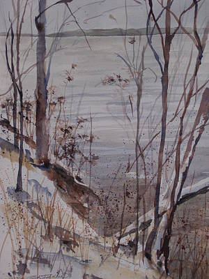 Poster featuring the painting Burt Lake In Winter by Sandra Strohschein