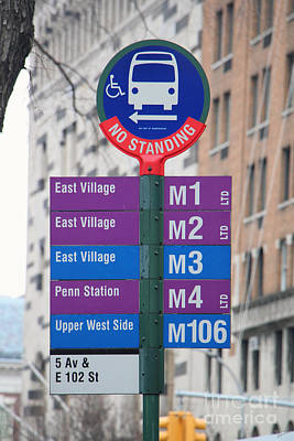 Bus Stop Sign In New York City Poster by Nishanth Gopinathan