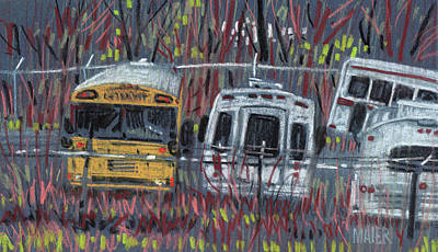 Bus Yard Poster by Donald Maier