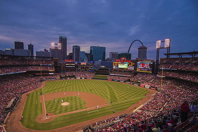 Busch Stadium St. Louis Cardinals Ball Park Village Twilight #3c Poster by David Haskett