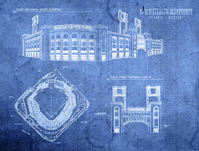 Busch Stadium St Louis Cardinals Baseball Field Blueprints Poster