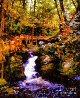 Bushkill Falls Forest Bridge Poster