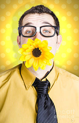 Business Man Celebrating Summer With Sun Flower Poster
