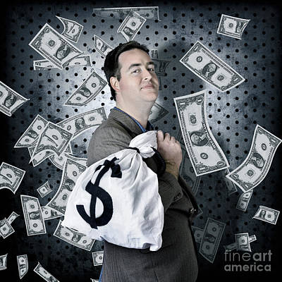 Business Man In Bank Vault With Finance Money Bag Poster by Jorgo Photography - Wall Art Gallery
