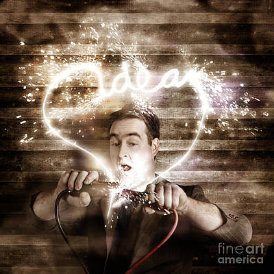 Business Man Jump Starting A Neon Idea Light Bulb Poster
