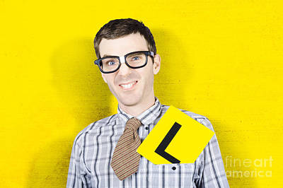 Business Man Starting First Day With L Plates Poster