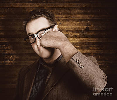 Business Man Under Stress Punching A System Reboot Poster by Jorgo Photography - Wall Art Gallery