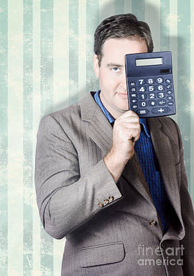 Business Person Hiding Behind Cash Calculator Poster