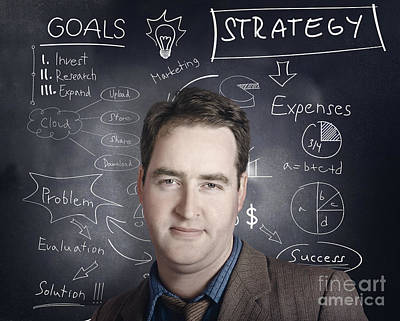 Business Person Thinking Up Strategy Plan Poster by Jorgo Photography - Wall Art Gallery