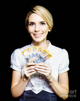 Business Woman Holding A Cash Bonanza Poster by Jorgo Photography - Wall Art Gallery