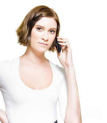 Business Woman On Mobile Phone Studio Portrait Poster