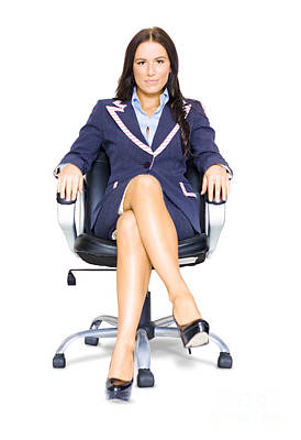 Business Woman On Office Chair At Job Interview Poster by Jorgo Photography - Wall Art Gallery
