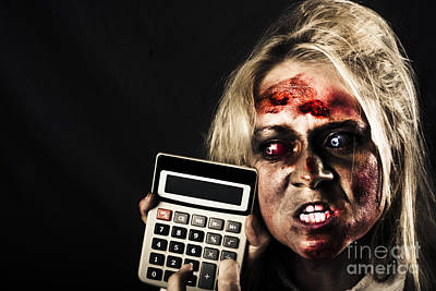 Business Woman With Calculator. Halloween Sale Poster