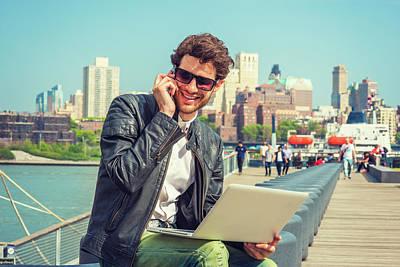 Businessman Enjoying Working Outside Poster