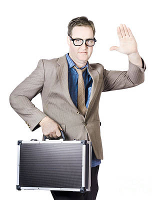 Businessman Showing Hand Holding Briefcase Poster by Jorgo Photography - Wall Art Gallery