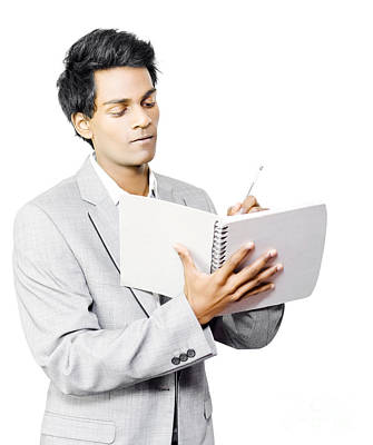 Businessman Taking Notes Poster