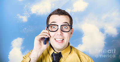 Businessman Talking The Talk. Cloud Background Poster by Jorgo Photography - Wall Art Gallery