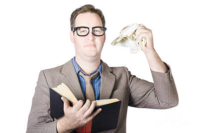 Businessman Tearing Pages From Book Poster
