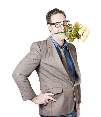 Businessman With Flowers In Mouth Poster