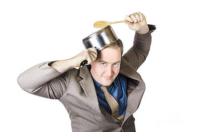Businessman With Saucepan And Spatula Poster