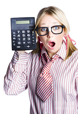 Businesswoman With Calculator Poster by Jorgo Photography - Wall Art Gallery