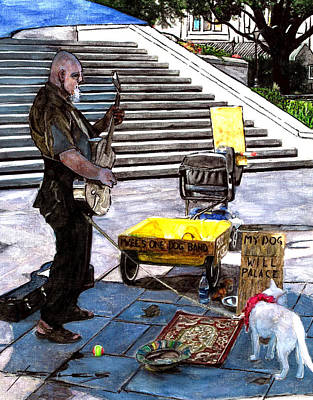 Busker With Dog Poster by John Boles