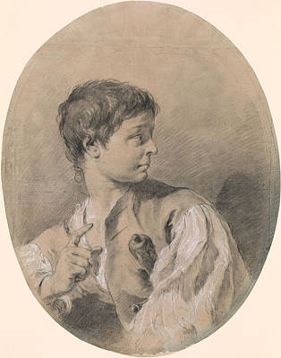 Bust Of A Boy In Profile Holding A Sword Poster by Giovanni Battista