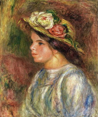 Bust Of Female In Straw Hat, 1914 Poster by Auguste Renoir