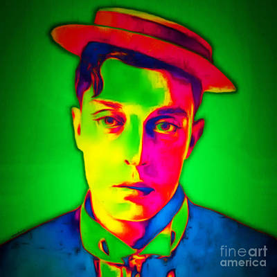 Poster featuring the photograph Buster Keaton 20151220 Square by Wingsdomain Art and Photography