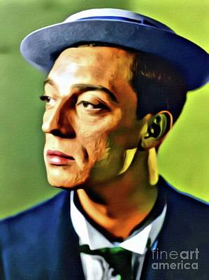Buster Keaton, Hollywood Legend. Digital Art By Mb Poster by Mary Bassett
