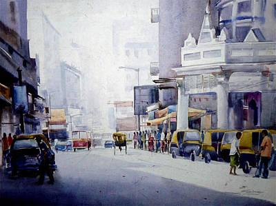 Busy Street In Kolkata Poster