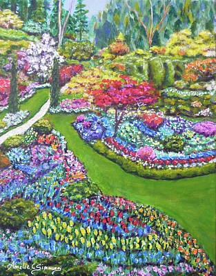 Poster featuring the painting Butchart Gardens by Amelie Simmons