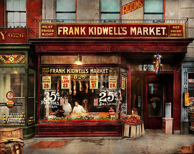 Poster featuring the photograph Butcher - Meat Priced Right 1916 by Mike Savad
