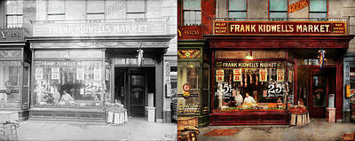 Poster featuring the photograph Butcher - Meat Priced Right 1916 - Side By Side by Mike Savad
