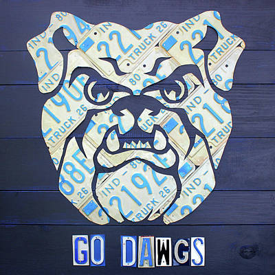 Butler University Indiana Bulldogs Mascot License Plate Art Logo Poster by Design Turnpike