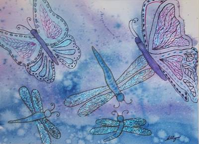 Poster featuring the painting Butterflies And Dragonflies by Ellen Levinson
