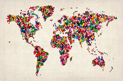 Butterflies Map Of The World Poster by Michael Tompsett