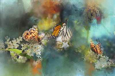 Butterflies On A Spring Day Poster by Toni Hopper